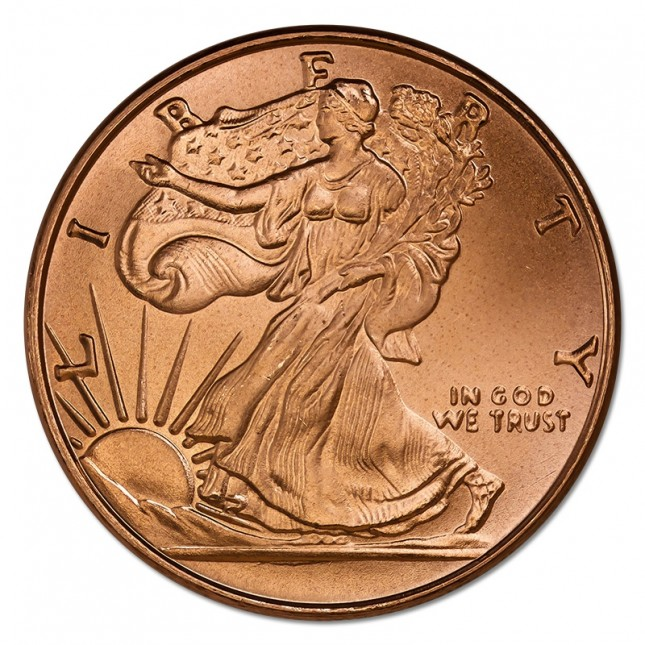 1 oz Copper Round | Walking Liberty (BU)