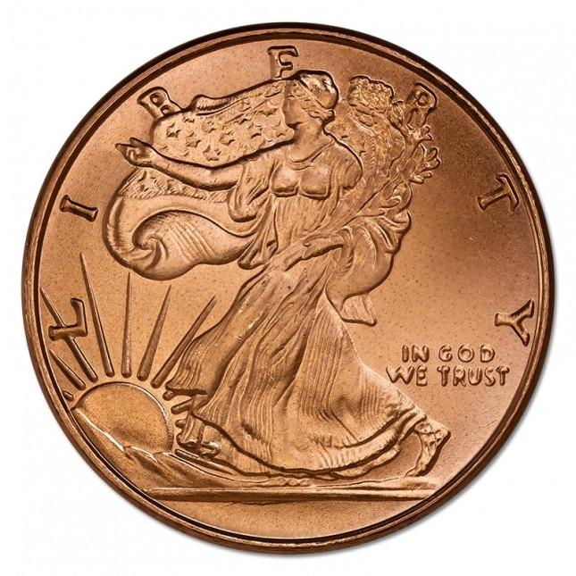5 oz Copper Round | Walking Liberty (BU)