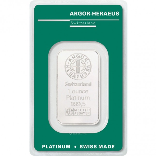 Argor-Heraeus 1 Oz Platinum Bar (In Assay)