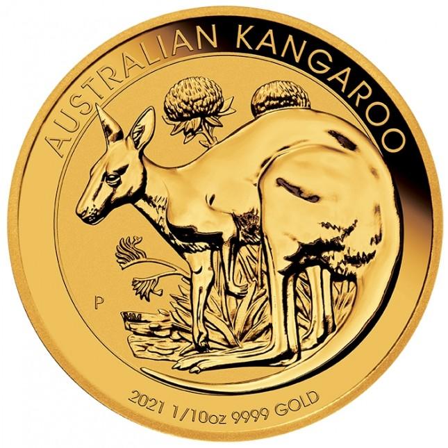 2021 Australia 1/10 Oz Gold Kangaroo (BU)
