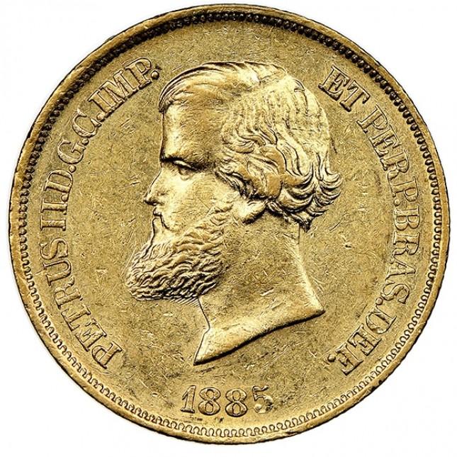 Brazil 20,000 Reis Gold Pedro II Avg Circ (Random Date)