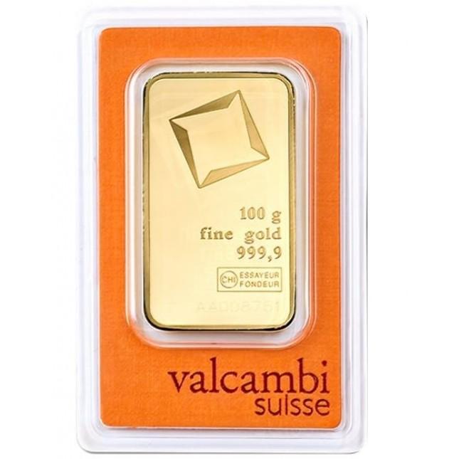 Valcambi 100 Gram Gold Bar (In Assay)