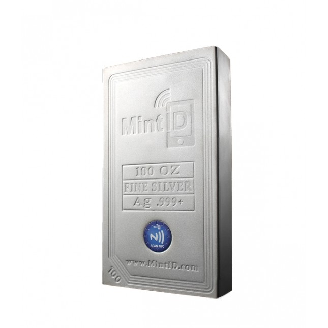 MintID 100 oz Silver Bar (New, AES-128 Encrypted)