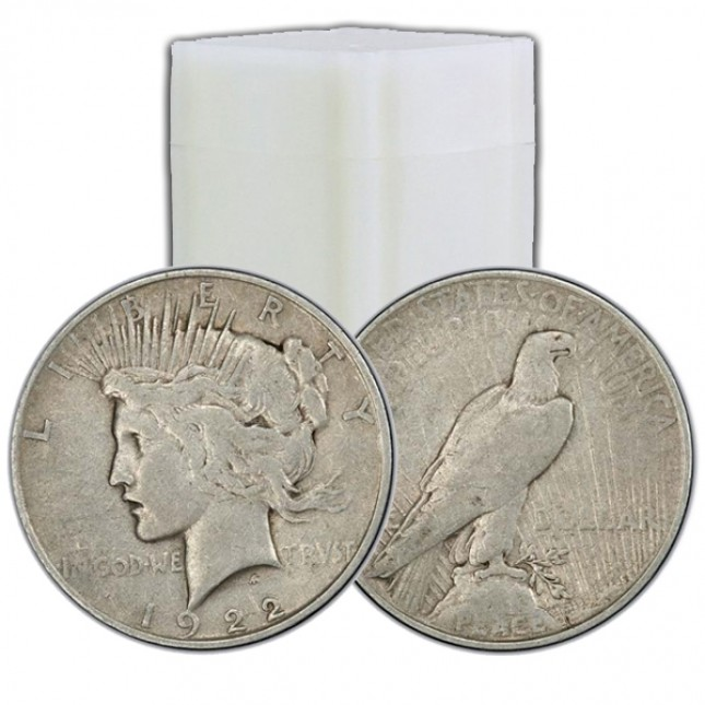Set of 10 Different Date/Mintmarks: Peace Silver Dollar VG