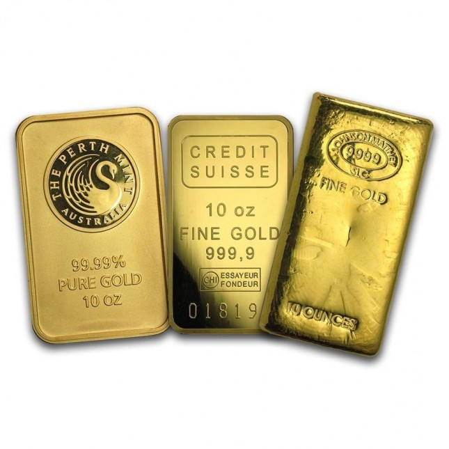 10 Oz Gold Bar (.999+ Fine) - Brand of Our Choice