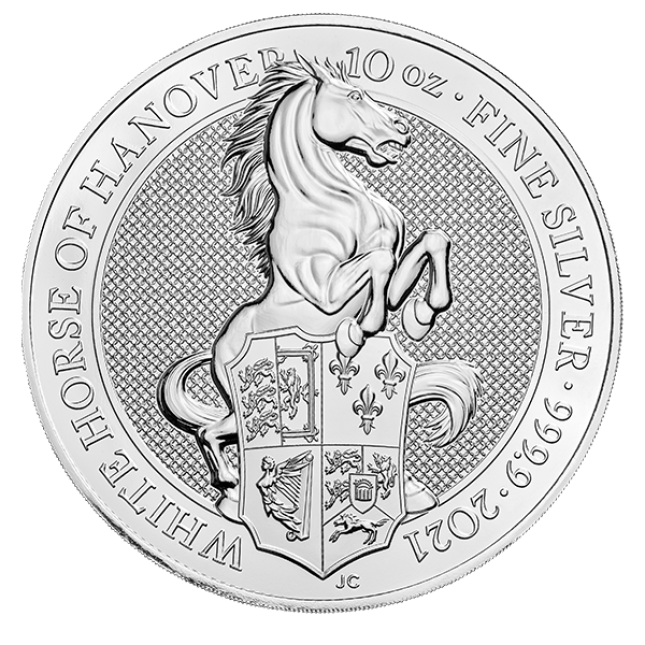 2021 UK 10 Oz Silver The White Horse of Hanover BU (Queen's Beasts Series)