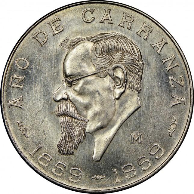1959 Mexico Silver 5 Pesos Carranza Avg Circ (ASW .4179 oz)