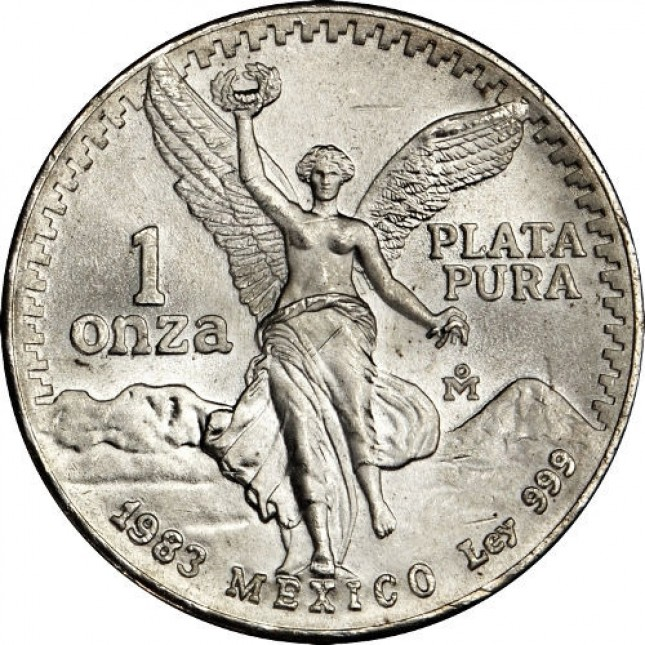 1983-1985 1 Oz Mexican Silver Libertad Coin (BU) Obverse