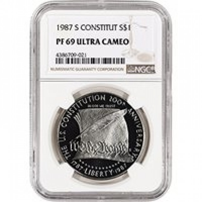 1987-S Constitution $1 Silver Commem NGC PF 69