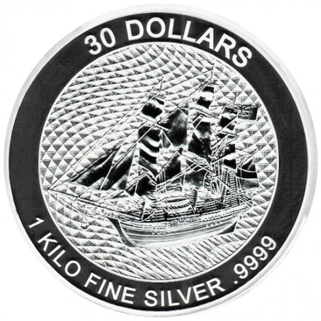 2020 Cook Island Kilo (32.15 oz) Silver Sailing Ship Bounty Coin (BU)