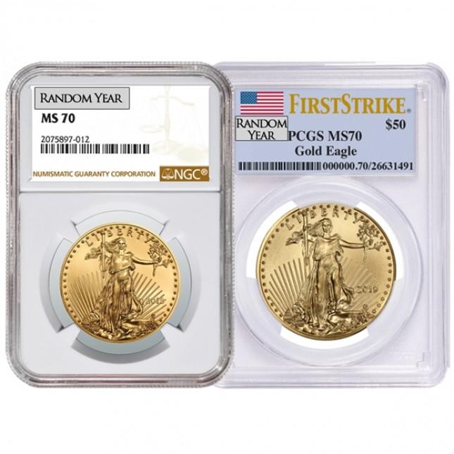 1 Oz American Gold Eagle PCGS/NGC MS70 (Random Year)