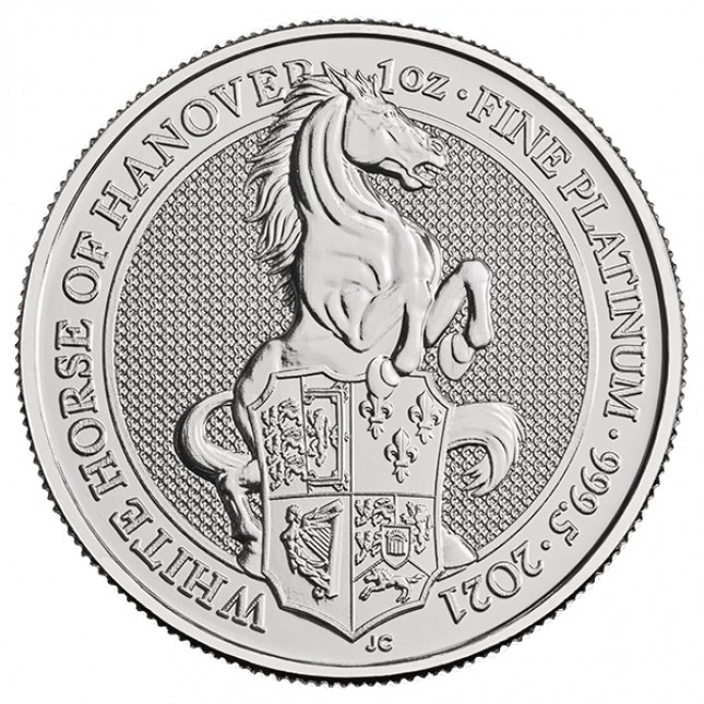 2021 UK 1 Oz Platinum The White Horse of Hanover BU (Queen's Beasts Series)
