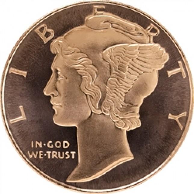 1 oz Copper Round | Mercury Dime (BU)