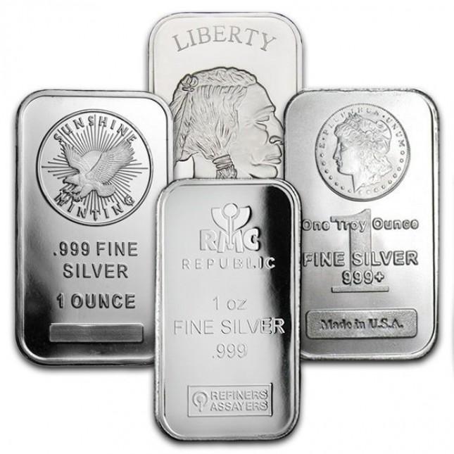 1 Oz Silver Bar - Secondary Market (.999+ Fine)