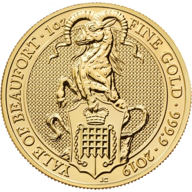 2019 UK 1 Oz Gold The Yale of Beaufort BU (Queen's Beasts Series)