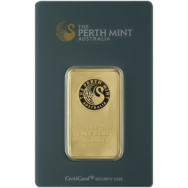 1 Oz Perth Gold Bar (In Assay) Front