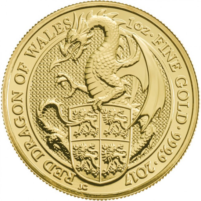 2017 UK 1 Oz Gold Red Dragon (Queen's Beasts Series) Reverse