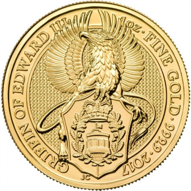 2017 UK 1 Oz Gold Griffin (Queen's Beasts Series) Reverse