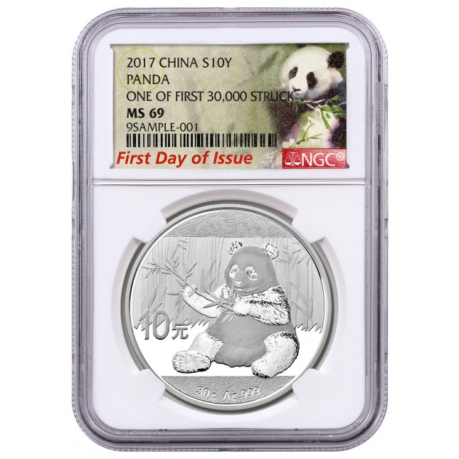 2017 30 Gram Silver Panda NGC MS69 First Day of Issue