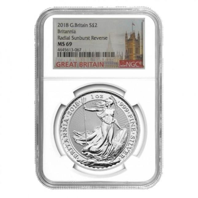 2018 G. Britain S£ 2 Britannia Radial Sunburst Reverse MS 69
