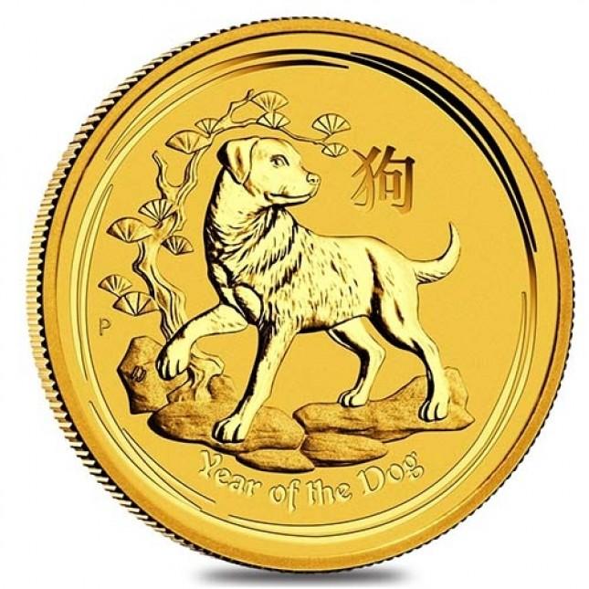 2018 Australia 1/20 Oz Gold Lunar Dog Coin (BU) Reverse