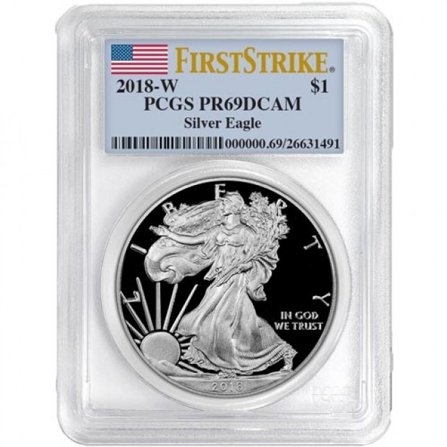 2018-W American Proof Silver Eagle PCGS PR69 First Strike Flag Label