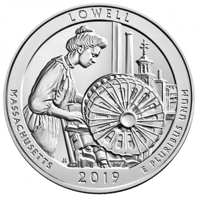 2019 Lowell National Historical Park 5 Oz Silver ATB Coin (BU)