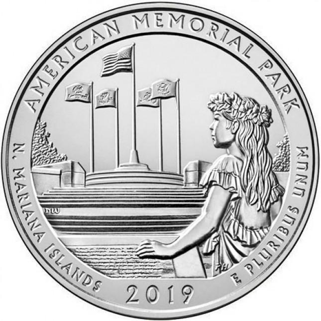 2019 American Memorial Park 5 Oz Silver ATB Coin (BU)
