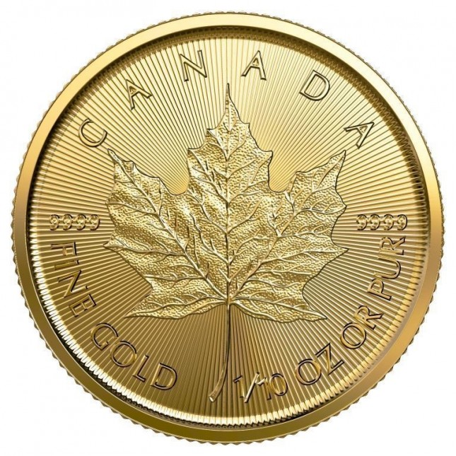 2019 Canada 1/10 Oz Gold Maple Leaf (BU)