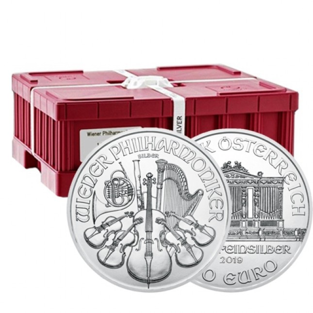 2019 Austria 1 Oz Silver Philharmonic (BU) - Monster Box of 500 Coins