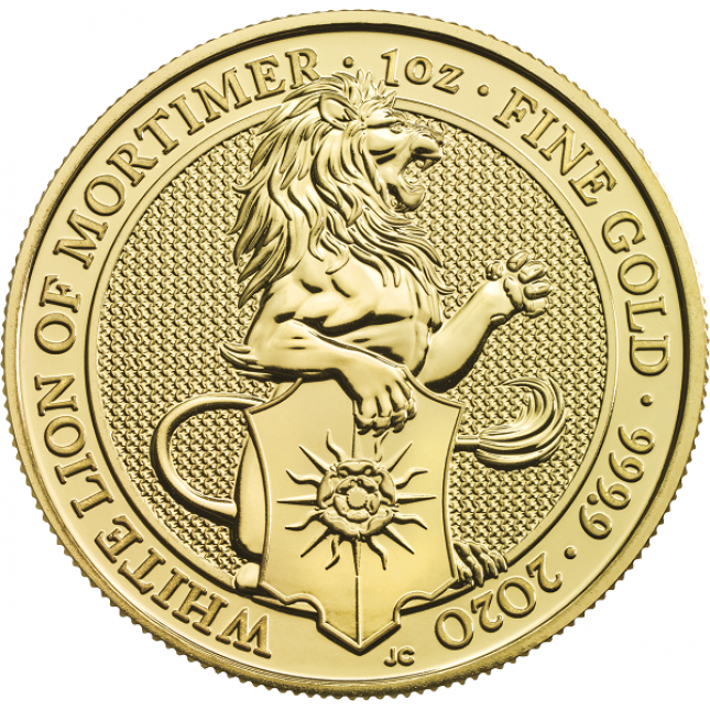 2020 UK 1 Oz Gold The White Lion of Mortimer BU (Queen's Beasts Series)