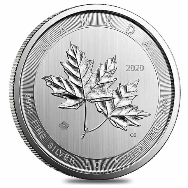 2020 10 Oz $50 Canadian Silver 'Magnificent' Maple Leaf Coin