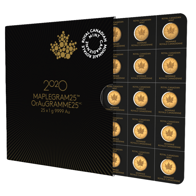 2020 Canada 25 Gram Gold Maplegram