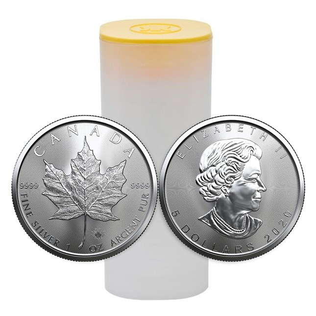 2020 Canada 1 Oz Silver Maple Leaf Coins (BU) Roll/Tube of 25