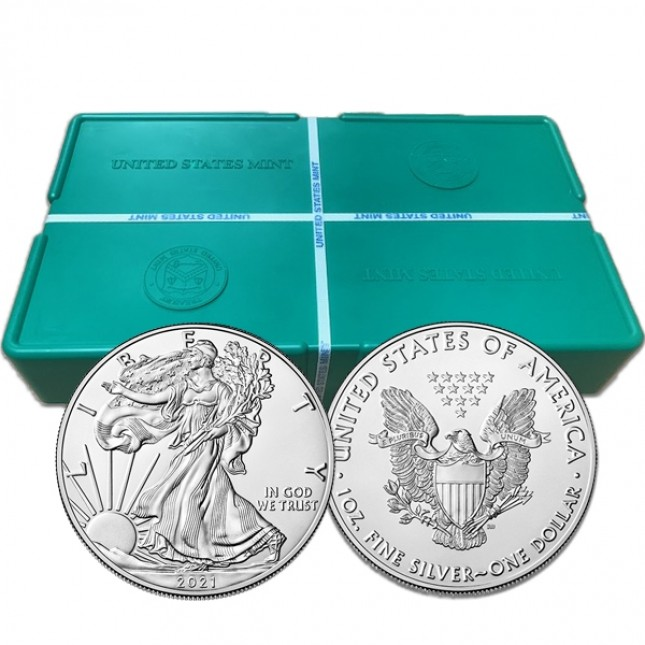 2021 (Philadelphia Mint) American Silver Eagle Type 1 Sealed Monster Box of 500 Coins