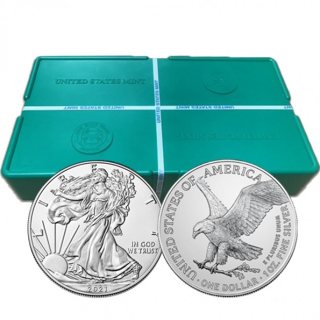 2021 (First Production) Type 2 American Silver Eagle Sealed Monster Box of 500 Coins
