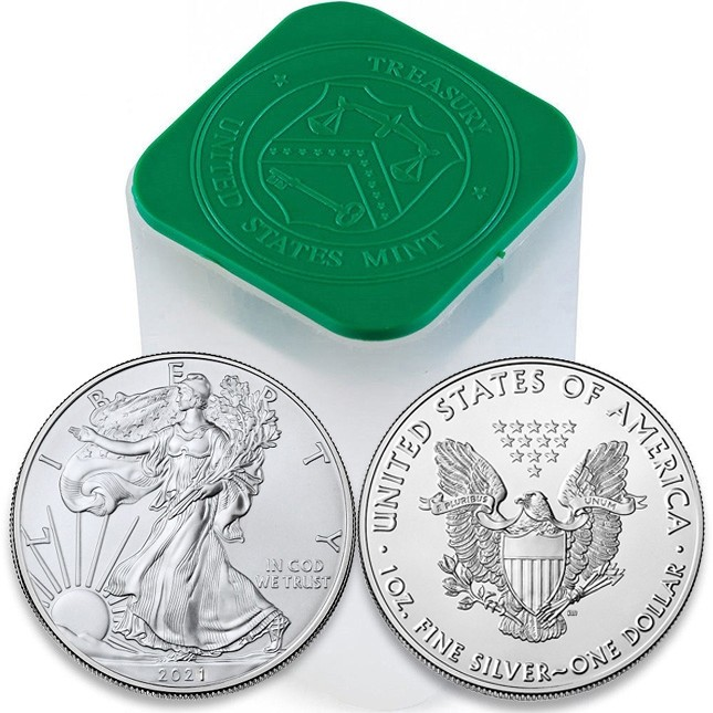 2021 1 Oz American Silver Eagle Roll/Tube of 20