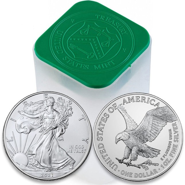 2021 1 Oz American Silver Eagle Type 2 Roll/Tube of 20