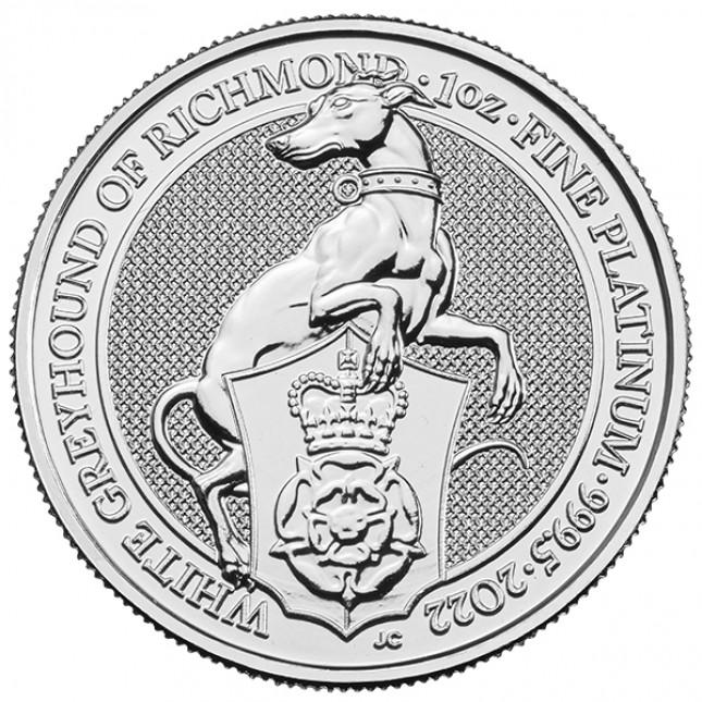 2022 UK 1 Oz Platinum The White Greyhound of Richmond BU (Queen's Beasts Series)