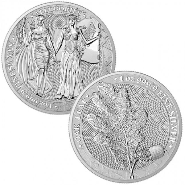 2 Coin Bundle: 1 oz Silver Columbia & Germania Allegories and 1 oz Silver Oak Leaf (BU)