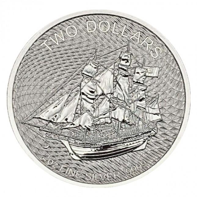 2020 Cook Islands 2 Oz Silver HMS Bounty Coin (BU)