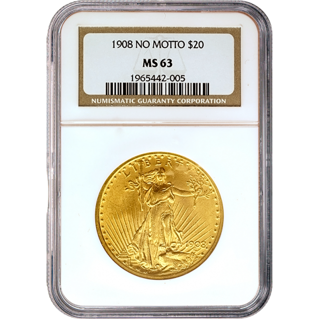 $20 Saint Gaudens Gold Double Eagle NGC MS63 Obverse