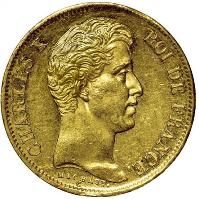 France Gold 40 Franc Charles X Coin 1824-1830 (Average Circulated)