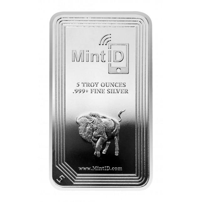 MintID 5 oz Silver Buffalo Bar (BU, AES-128 Encrypted)