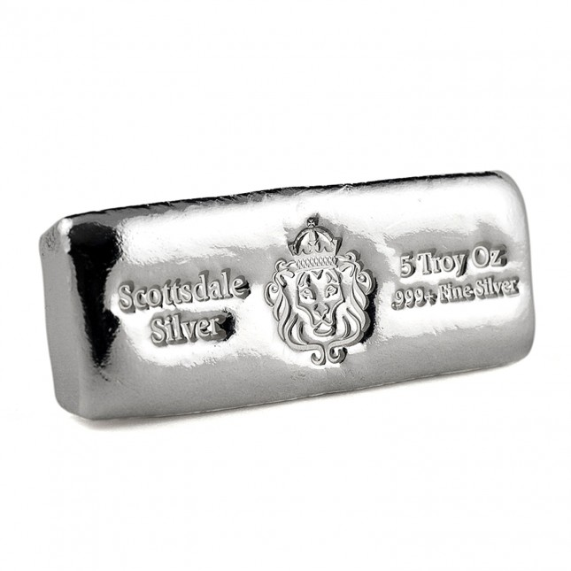 Scottsdale Mint 5 Oz Silver Cast Bar