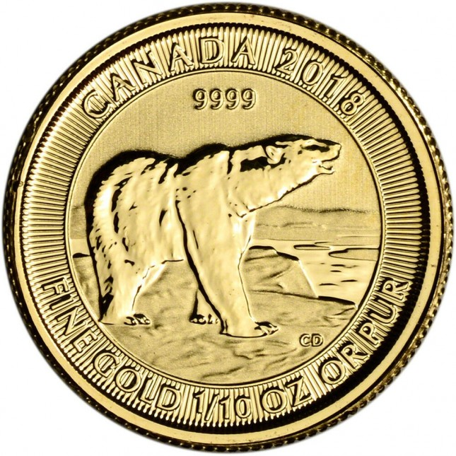 2018 Canada 1/10 oz Gold Polar Bear (BU)