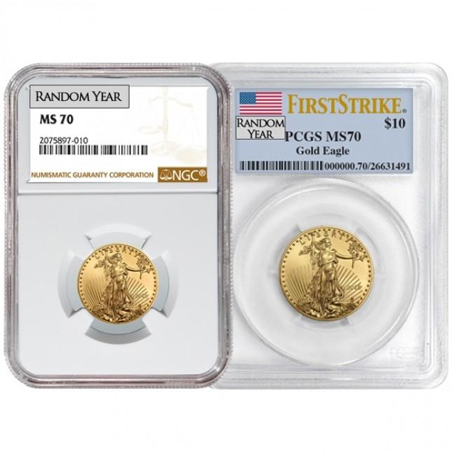 1/4 Oz American Gold Eagle PCGS/NGC MS70 (Random Year)