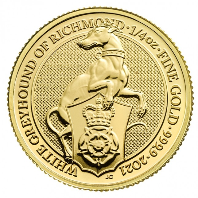 2021 UK 1/4 Oz Gold The White Greyhound of Richmond BU (Queen's Beasts Series)