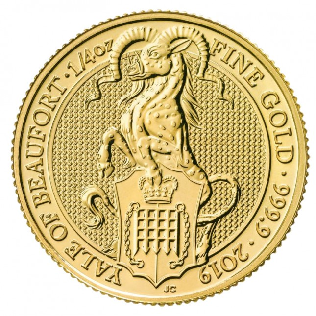 2019 UK 1/4 Oz Gold The Yale of Beaufort BU (Queen's Beasts Series)
