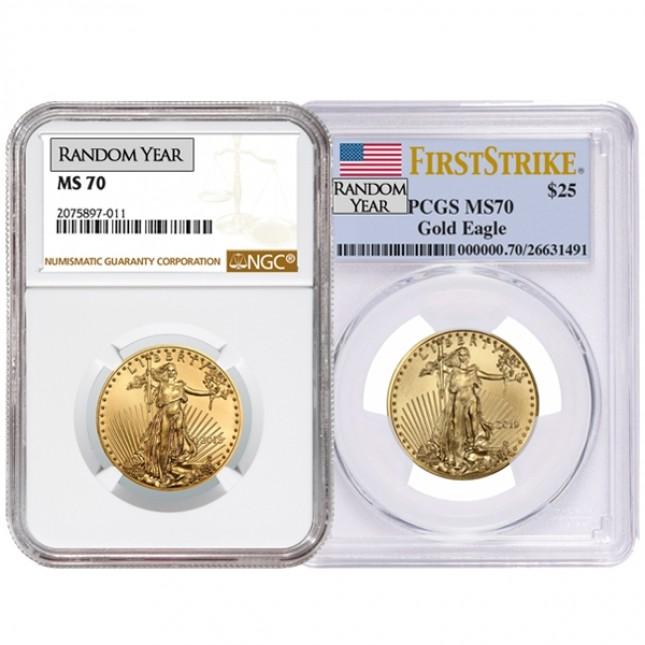1/2 Oz American Gold Eagle PCGS/NGC MS70 (Random Year)